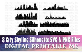 Print on Demand: Cityscape Silhouette Graphic Illustrations By DigitalPrintableMe