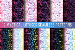 Print on Demand: Colored Lotus Seamless Patterns Set Graphic Patterns By barsrsind