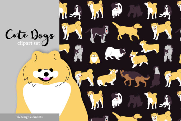 Cute Dogs Vector Clipart Graphic Objects By neauth