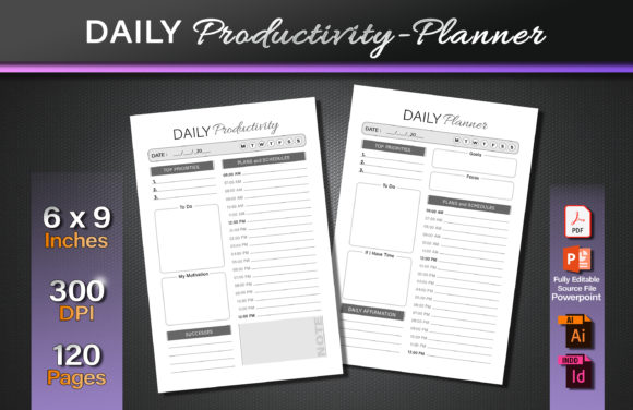 Daily Productivity Planner Graphic KDP Interiors By okdecoconcept