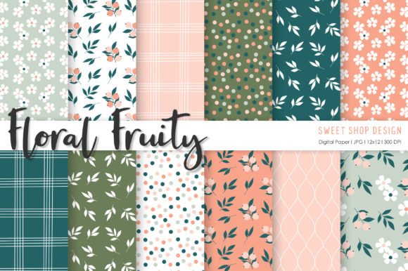 Digital Paper Floral Fruity Graphic Patterns By Sweet Shop Design