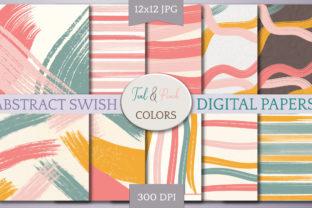 Print on Demand: Digital Papers-Teal & Peach Swish Graphic Backgrounds By Digital to Art