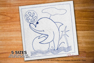 Dolphin Playing with Ball Fish & Shells Embroidery Design By Redwork101