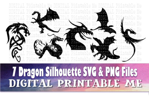 Print on Demand: Dragon Silhouette Bundle Graphic Illustrations By DigitalPrintableMe