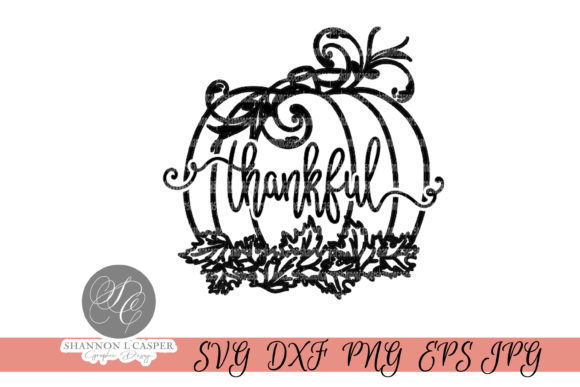 Print on Demand: Fall Harvest Thankful Pumpkin Grafik Illustrationen von Shannon Casper