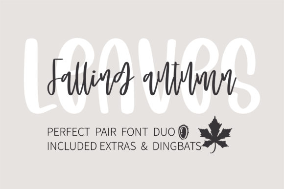 Print on Demand: Falling Autumn Leaves Script & Handwritten Font By BitongType
