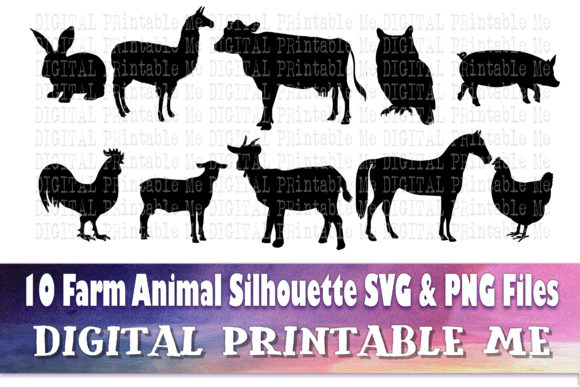 Print on Demand: Farm Animals Silhouette Bundle Graphic Illustrations By DigitalPrintableMe