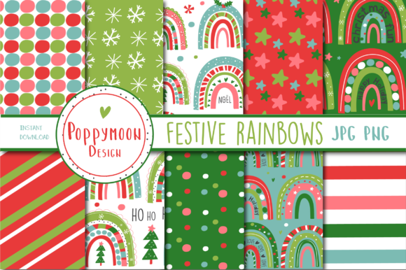 Print on Demand: Festive Rainbow Paper Graphic Patterns By poppymoondesign