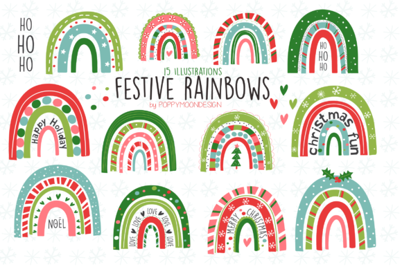 Print on Demand: Festive Rainbows Clipart Graphic Illustrations By poppymoondesign