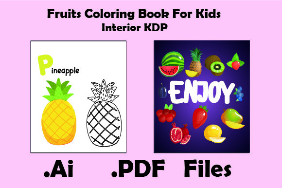 Print on Demand: Fruits Coloring Book for Kids Graphic KDP Interiors By KDP_Interior_101