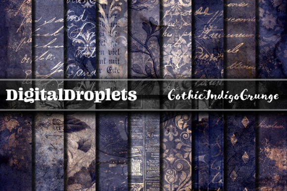 Gothic Indigo Grunge Papers Graphic Backgrounds By digitaldroplets