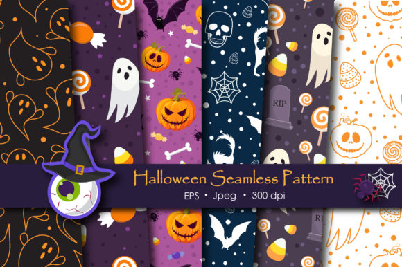 Print on Demand: Halloween Ghost and Spooky Cat Pattern Graphic Patterns By jannta