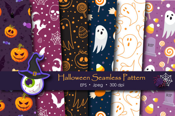 Print on Demand: Halloween Ghost and Spooky Cat Pattern Graphic Patterns By jannta - Image 1