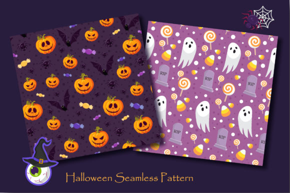 Print on Demand: Halloween Ghost and Spooky Cat Pattern Graphic Patterns By jannta - Image 2