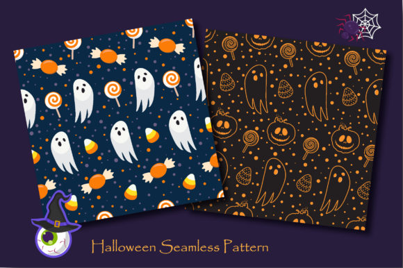 Print on Demand: Halloween Ghost and Spooky Cat Pattern Graphic Patterns By jannta - Image 3