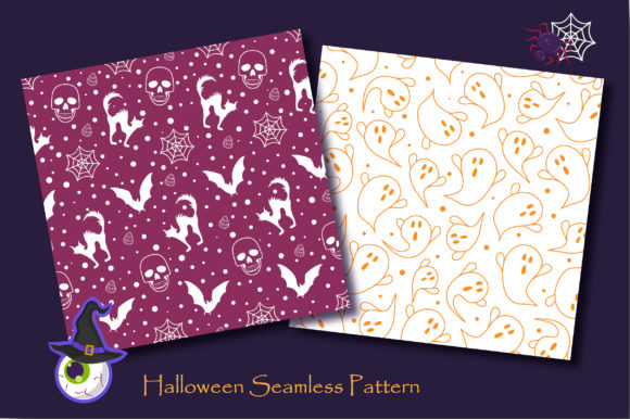 Print on Demand: Halloween Ghost and Spooky Cat Pattern Graphic Patterns By jannta - Image 4
