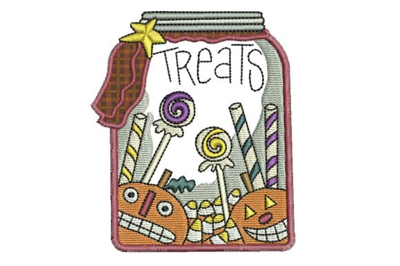 Halloween Treats Jar Halloween Embroidery Design By BabyNucci Embroidery Designs