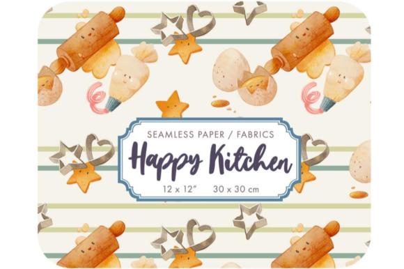 Happy Kitchen Baby Boy Fabric Design Graphic Patterns By Alphabelli