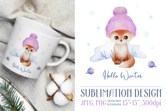 Print on Demand: Hello Winter. Watercolor Design with Fox Graphic Crafts By Olga Belova