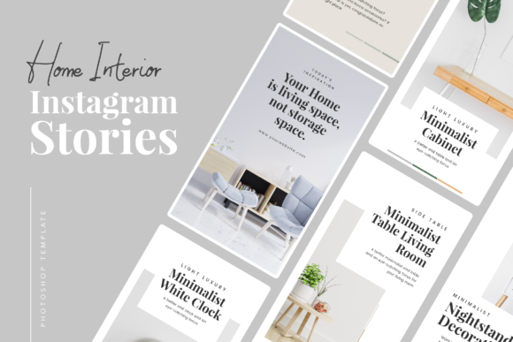 Print on Demand: Home Interior Instagram Stories Graphic UX and UI Kits By peterdraw