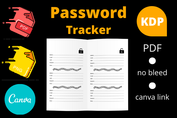 Print on Demand: KDP Password Tracker Logbook Graphic KDP Interiors By Dunkyshot