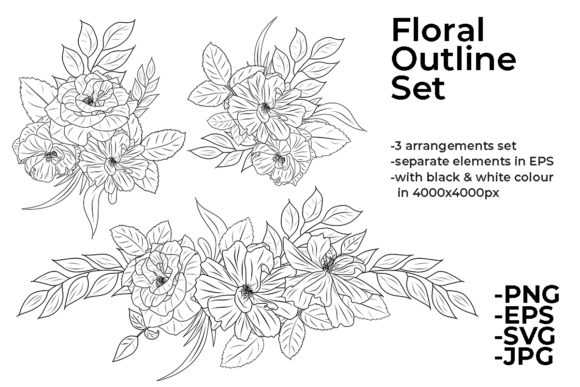 Line Drawing Flowers Arrangements Set Graphic By Azrielmch Creative Fabrica