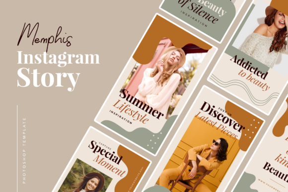 Print on Demand: Memphis Instagram Story Graphic UX and UI Kits By peterdraw