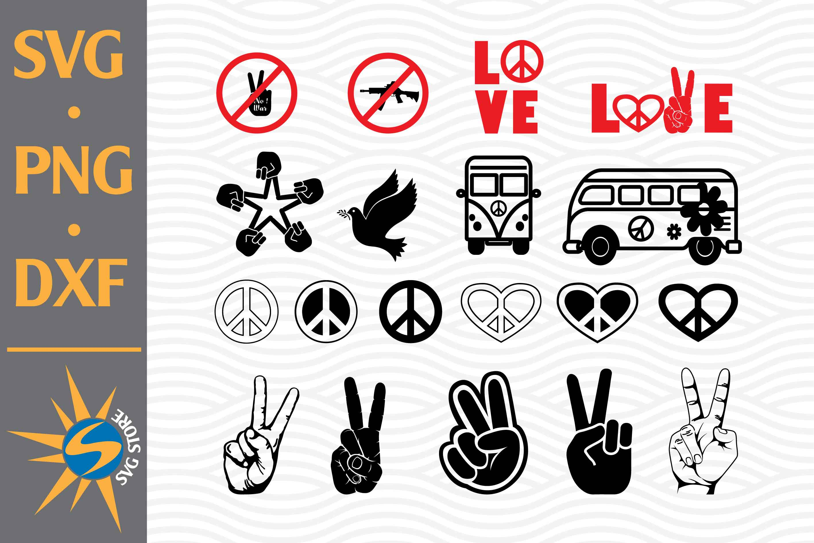 Peace Sign and Hippie Bus SVG File