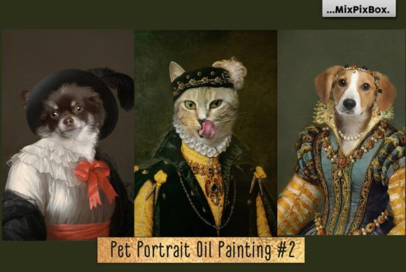 Print on Demand: Pet Portrait Oil Background V.2 Graphic Layer Styles By MixPixBox