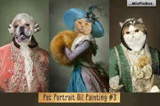 Print on Demand: Pet Portrait Oil Background V.3 Graphic Layer Styles By MixPixBox