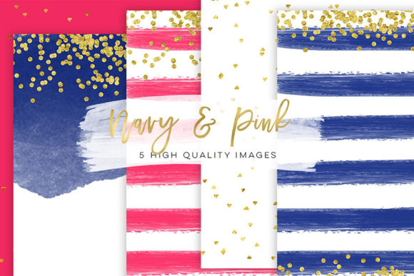 Print on Demand: Pink and Navy Blue, Blog Paper Clip Art Graphic Backgrounds By SunflowerLove