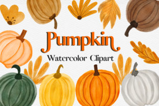 Print on Demand: Pumpkin Watercolor Clipart Graphic Illustrations By PinkPearly