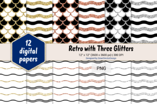 Print on Demand: Scales and Waves Retro W 3 Glitters #1 Graphic Backgrounds By SmartVectorDesign