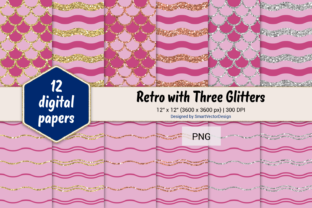 Print on Demand: Scales and Waves Retro W 3 Glitters #11 Graphic Backgrounds By SmartVectorDesign