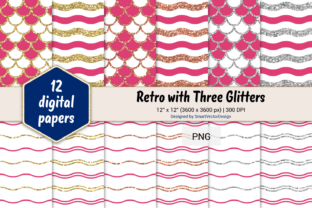 Print on Demand: Scales and Waves Retro W 3 Glitters #16 Graphic Backgrounds By SmartVectorDesign