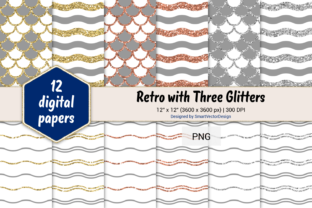 Print on Demand: Scales and Waves Retro W 3 Glitters #2 Graphic Backgrounds By SmartVectorDesign