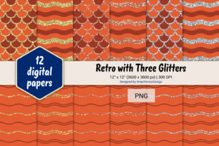 Print on Demand: Scales and Waves Retro W 3 Glitters #23 Graphic Backgrounds By SmartVectorDesign