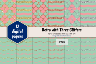 Print on Demand: Scales and Waves Retro W 3 Glitters #27 Graphic Backgrounds By SmartVectorDesign