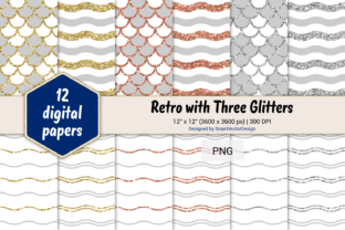 Print on Demand: Scales and Waves Retro W 3 Glitters #3 Graphic Backgrounds By SmartVectorDesign