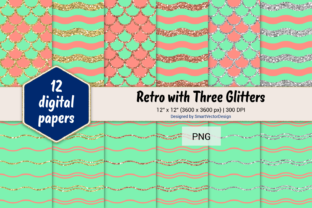 Print on Demand: Scales and Waves Retro W 3 Glitters #32 Graphic Backgrounds By SmartVectorDesign