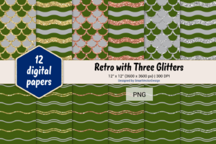 Print on Demand: Scales and Waves Retro W 3 Glitters #38 Graphic Backgrounds By SmartVectorDesign