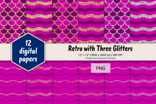 Print on Demand: Scales and Waves Retro W 3 Glitters #4 Graphic Backgrounds By SmartVectorDesign