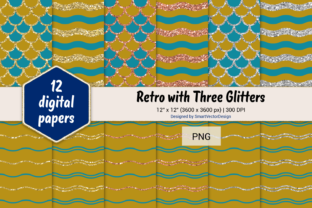 Print on Demand: Scales and Waves Retro W 3 Glitters #41 Graphic Backgrounds By SmartVectorDesign