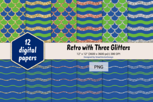 Print on Demand: Scales and Waves Retro W 3 Glitters #44 Graphic Backgrounds By SmartVectorDesign