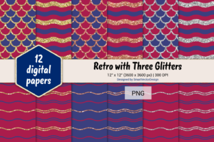 Print on Demand: Scales and Waves Retro W 3 Glitters #5 Graphic Backgrounds By SmartVectorDesign