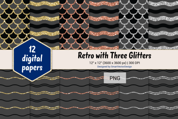 Print on Demand: Scales and Waves Retro W 3 Glitters #56 Graphic Backgrounds By SmartVectorDesign