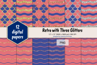 Print on Demand: Scales and Waves Retro W 3 Glitters #6 Graphic Backgrounds By SmartVectorDesign