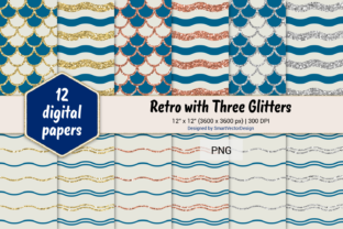 Print on Demand: Scales and Waves Retro W 3 Glitters #65 Graphic Backgrounds By SmartVectorDesign
