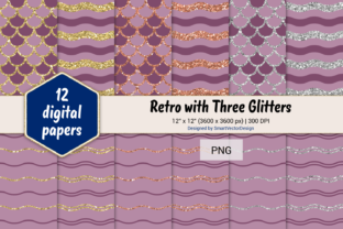 Print on Demand: Scales and Waves Retro W 3 Glitters #7 Graphic Backgrounds By SmartVectorDesign