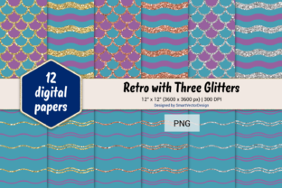 Print on Demand: Scales and Waves Retro W 3 Glitters #80 Graphic Backgrounds By SmartVectorDesign